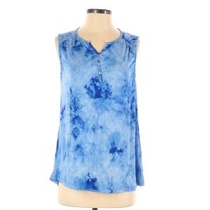 Ava James Blue Tie-dyed Tank Top Sz Small